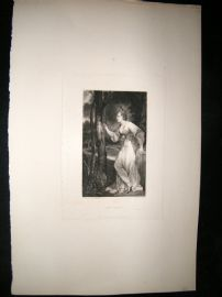 After Joshua Reynolds C1830 Folio Mezzotint. Mrs Lloyd, Pretty Lady